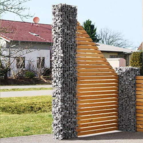bellissa Gabionenstele PRONTO - 98108 - Hochwertige Gabionensäule - Dekorative, schmale Steinsäule inkl. Rohrpfosten - 30 x 15 x 105 cm