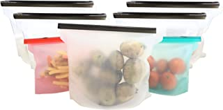Reusable Silicone Food Storage Bag - TWO FREE BAGS - Antibacterial Meal Prep Solution - Liquids Snacks Lunches Airtight Seal Best for Preserving Food and Cooking -7 Pack 5XL+2L