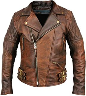 Leather Hub Men`s Lambskin Vintage Distressed Brown Leather Biker Jacket