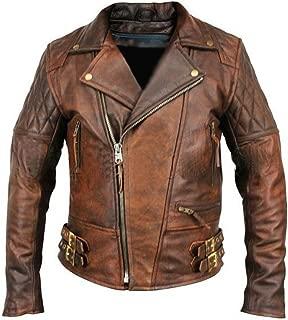 Leather Hub Men's Lambskin Vintage Distressed Brown Leather Biker Jacket