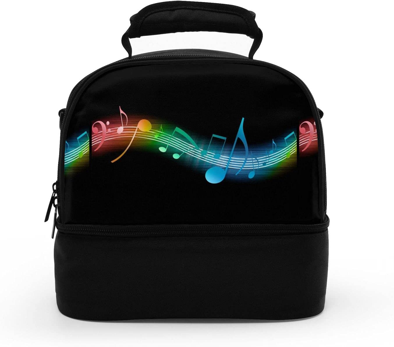 Music Arlington Mall discount Note Double Decker Thermal Lunch Reusable Le Bag Insulated