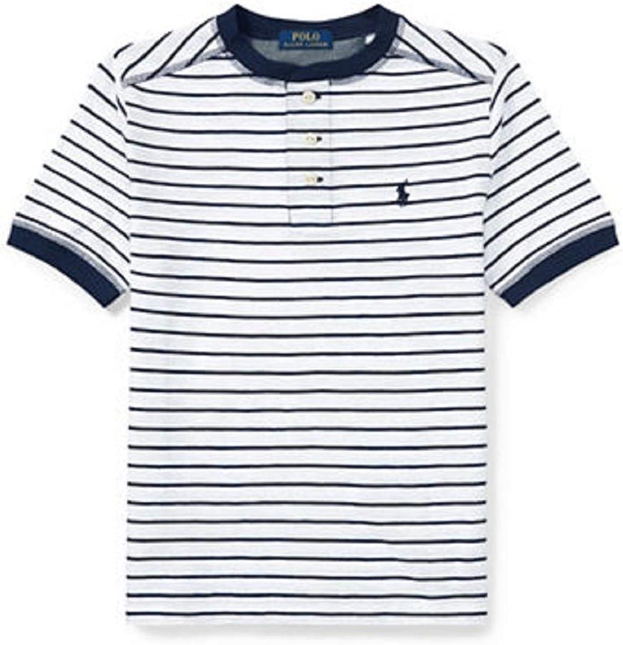 Ralph Lauren Childrenswear Striped Cotton Jersey Henley-White-X-Large
