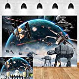 Universal Outer Space Galaxy Wars Photo Backgrounds Baby Boys Bday Party Supplies Black Stars Science Fiction Photography Backdrop Baby Shower Kids Birthday Decorations Banner Vinyl 5x3ft