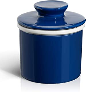 Sweese 305.103 Porcelain Butter Keeper Crock - French Butter Dish - No More Hard Butter - Perfect Spreadable Consistency, Navy