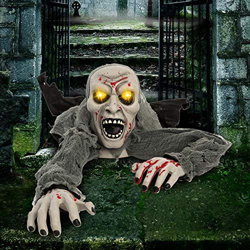 JOYIN Halloween Zombie-Romper-el Suelo Ecendido con Luces con Mancha de Sangre y Sonido Rspeluznante para Halloween al Aire Libre, Césped, Patio