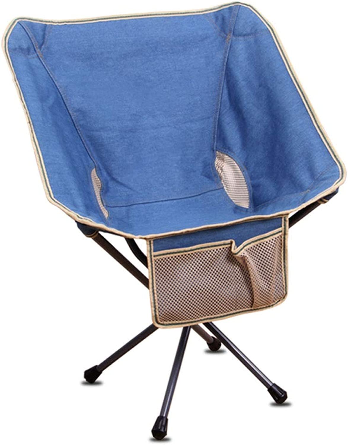 ZA Portable Folding Chair, Backpack Chair, Mini backrest, Fishing Moon Chair, Lazy Beach Camping Chair, Ultra Light Portable and Durable (color   bluee)