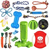 KIPRITII Dog Chew Toys for Puppy - 18 Pack Puppies Teething Chew Toys for Boredom, Pet Dog Toothbrush Chew Toys with Rope Toys, IQ Ball and More Squeaky Toy for Puppy and Small Dogs