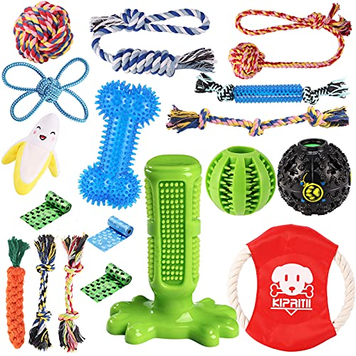 KIPRITII Dog Chew Toys for Puppy - 18 Pack Puppies Teething Chew Toys for Boredom, Pet Dog...