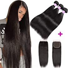 Flady Malaysian Straight Hair 3 Bundles with Closure Grade 8a Virgin Straight Human Hair Bundles with Lace Closure (Free Part 18 20 22+16)