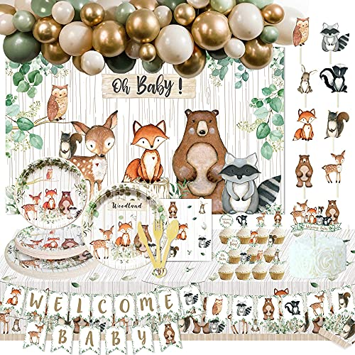 160PCS Woodland Baby Shower Party Supplies Decorations Fox Oh Baby Woodland Welcome Baby Banner and Cake Topper Woodland Creatures Fawn Animal Friends Garland Banner/Balloon/Woodland Backdrop/Flatware/Backdrop/Plates/Table Covers//Napkins/Cake Topper/Cupcake Topper for Girl Boy Woodland Gender Reveal