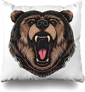 NOWCustom Throw Pillow Cover Nature Brown Face Color Bear Head Wildlife Drawing Grizzly Beast Big Black Character Design Power Zippered Pillowcase Square Size 20 x 20 Inches Home Decor Pillow Case