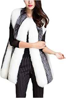 Women's Faux Fur Long Jacket Shaggy Vest Sleeveless Casual Chunky Peacoat for Work Daily