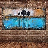 PLLP ノベルティフレームレスウォールは、塗装キャンバス手の油彩画、抽象木ブルーウォーターパターン設計の北欧スタイルの絵画のリビングルームの廊下ホームベッドルームの装飾のためのポスターHdウォールアート写真インテリア絵画,70X140Cm(28X56Inch)いいえフレーム,70X140Cm(28X56Inch)いいえフレーム