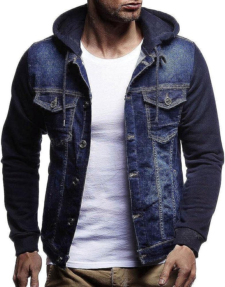 Burband Mens Fashion Hoodie Jean Jackets Military Vintage Washed Cotton Distressed Button Down Denim Trucker Jackets