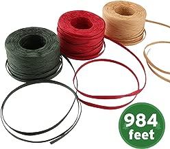 Sooez Raffia Ribbon String, 984 Feet Christmas Gift Wrapping Raffia Paper String Ribbon Packing Paper Twine for Craft DIY Supply Christmas, 328Feet Each Roll