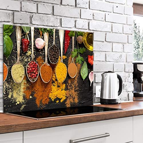 murando Panel de Vidrio para Cocina 80x60 cm Vidriopanel Protector Pantalla Antisalpicaduras Salpicadero con Gráfica Panel Decorativo Motivo Condimentos en cucharas - j-B-0096-aq-e