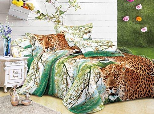 CUSHIONMANIA Juego de funda de edredón 3d juego de funda de edredón 3pc ropa de cama Animal Floral rosa 55g/m² New (tamaño king, leopardo)