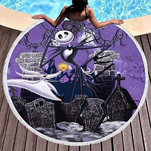NOBRAND La Pesadilla Antes de Navidad Toalla de Playa de Microfibra Jack de Dibujos Animados Tapiz de Pared Manta de Picnic Toalla de baño Suave 150x150cm