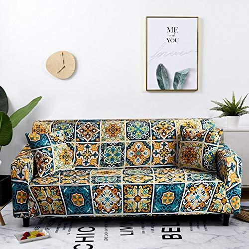 WXQY Fundas de sofá elásticas elásticas para Sala de Estar Toalla de sofá de Estilo Bohemio Totalmente Envuelto Antipolvo Toalla de sofá Armchair Funda de sofá A19 2 plazas
