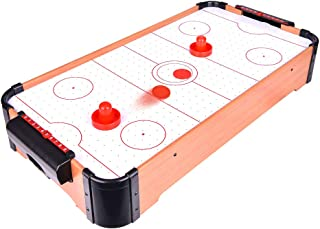 Portzon Electric Air Powered Hockey, Foosball Table Indoor Sports Gaming Set with Equipment Accessories 2 Paddles, 2 Pucks