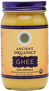 Organic Original Grass-fed Ghee, Butter by ANCIENT ORGANICS, 16 oz., Pasture Raised, Non GMO, Lactose - Casein - Gluten FREE, Certified KOSHER - 100% Organic Certified - USDA Approved (In Gift Box)