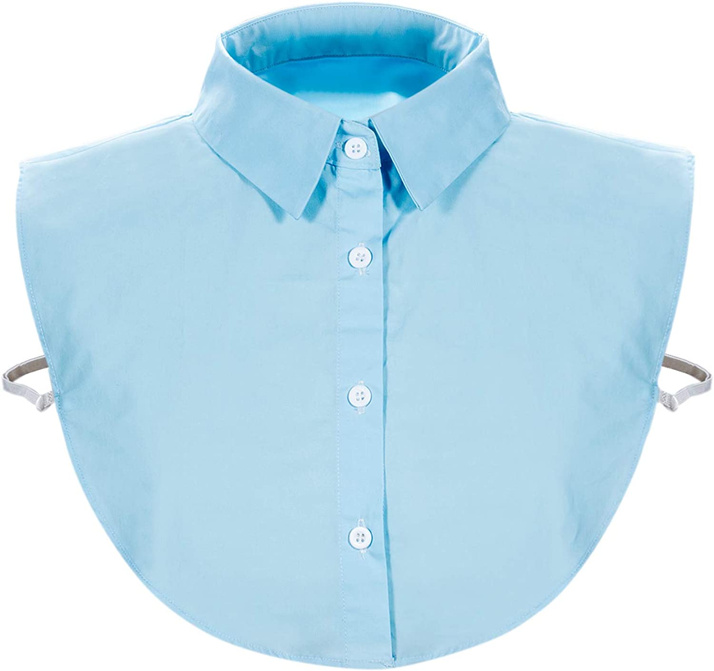 Wearlizer Camiseta de cuello para mujer, camiseta de media manga, blusa en algodón, blanco/negro/vaquero