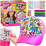 Color and Decorate Your Own Unicorn Themed Baseball Cap Art Set Includes Baseball Cap Hat, 8 Color Pens, 3 Glitter Glues, 3 Adhesive Gem Sheets, Girls DIY Art and Craft Kit, Kids Crafts Activity Kit