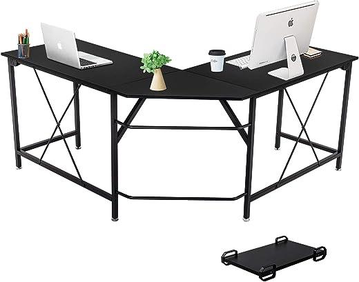 Dawoo Eckschreibtisch,L-förmiger Computertisch, Gaming-Computer Eckschreibtisch PC Studio Table Workstation für das Home Office, 140 * 50 * 75…