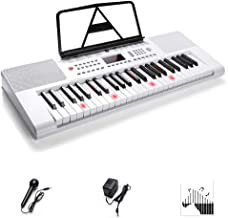 Electronic Keyboard Piano, 49-Lighted Key Electric Piano Keyboard with 3 Teaching Mode, Microphone, 200 Tones, 200 Rhythm, 50 Demo Songs, 5 Percussion, White