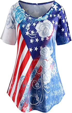Xavigio Women's Round Neck Short Sleeve American Flag Printed Tunic T Shirts Casual Swing Summer Blouses Tops