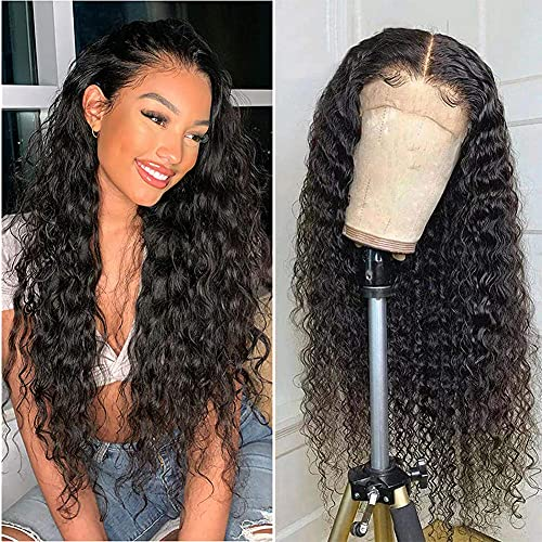 T-Part Lace Front Wigs Middle Part Lace Closure Wig For Black Women Water Wave Pre Plucked with Baby Hair Water Wave Wig Brazilian Virgin Human Hair Wigs Deep Curly 150% Density(T-Part Wig,14 Inch)