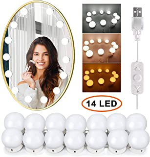 Wesho Luces Tocador Luces de Espejo de Tocador LED Kit 14 Bombillas Regulables Luces Para Maquillaje Hollywood Espejo de M...