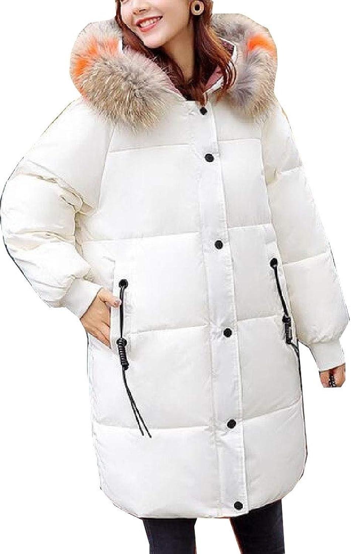 XQS Women's Loose Fit Hood Coats Fur Collar Bread Linen Cotton MultiPocket Coat
