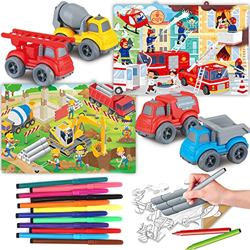 ADULi 子供おもちゃ 知育玩具 子供パズル 両面使用可能 子供向けパズル 114PCS 4種類の車が付属 12色水彩ペン付属 DIY着色 収納ボックス付き ミニカーセット パズル 子供 男の子おもちゃ 女の子おもちゃ 室内遊び 誕生日プレゼント 教育ゲ