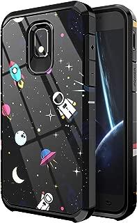 PBRO Galaxy J3 Orbit Case,Cute Astronaut Case Dual Layer Soft Silicone & Hard Back Cover Case for Galaxy J3 2018/J3 Achieve/Amp Prime 3/J3V/Express Prime 3/J3 Star/Sol 3/J3 Orbit/J3 Aura-Space/Black
