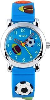GRyiyi Kid's Outdoor Carton Waterproof Wrist Watch Time Teacher for Children 3D Rubber Band, Deep Blue
