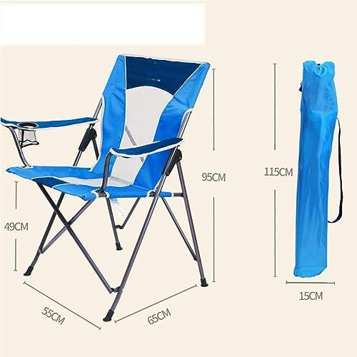 Cadre en Acier Pliant pour Chaise de Camp, rembourru00e9 avec accoudoir et Porte-gobelet en Mesh lu00e9ger, Solide et Stable pour Le Dos en Camping avec Sac de Transport-2