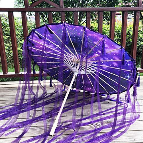Paraguas de papel engrasado lluvia mujeres fotografía Prop cinta a prueba de lluvia borlas antiguas paraguas ventilador paraguas parasol