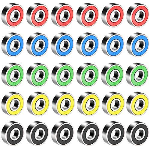 Does not apply 30 rodamientos para monopatín, patines en línea, 608RS rojo, negro, azul, amarillo, verde
