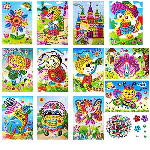 12 Paquetes Kits de Mosaico para Niños, Pegatina Mosaico Kits de Manualidades, DIY Mosaico Pegatinas Creativo Dibujos Animados eva Mosaico Pegatina Manualidades educativas, Puzzles Mosaico