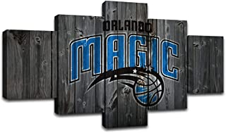 AsheArt Orlando Magic Wall Art Posters Pictures Home Decor Canvas Prints 5 Panel NBA Basketball Sports Decoration Paintings Ready to Hang(60''Wx32''H)
