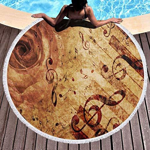 Vintage Gunge Rose Flower Music Note Toalla de playa Tapiz de playa redondo con borlas Manta de playa a prueba de arena Toalla de esterilla de yoga 59 pulgadas