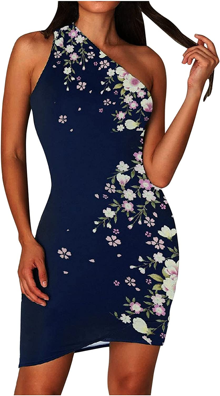 NLLSHGJ Maxi Dresses for Women Sexy Summer One Shoulder Sleeveless Bodycons Short Dress Tight Sundress