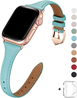 WFEAGL Leather Bands Compatible with Apple Watch 42mm 44mm,Top Grain Leather Band Slim&Thin Wristband for iWatch Series 5&Series 4/3/2/1(Tiffany Blue Band+RoseGold Adapter,42mm 44mm Small&Middle Size)