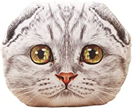 "ChezMax Cute 3D Animal Stuffed Pillow Pet Soft Plush Toy Doll Gift Back Cushion Gray Scottish Fold Cat Head 19.7"""