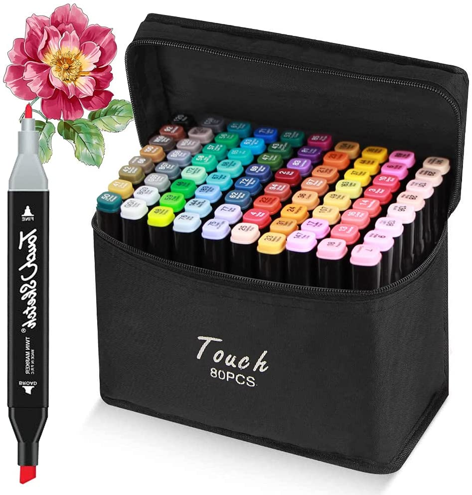 gift 5 ☆ very popular 80 Colors Alcohol Markers Based Art 2 Dual-Tip