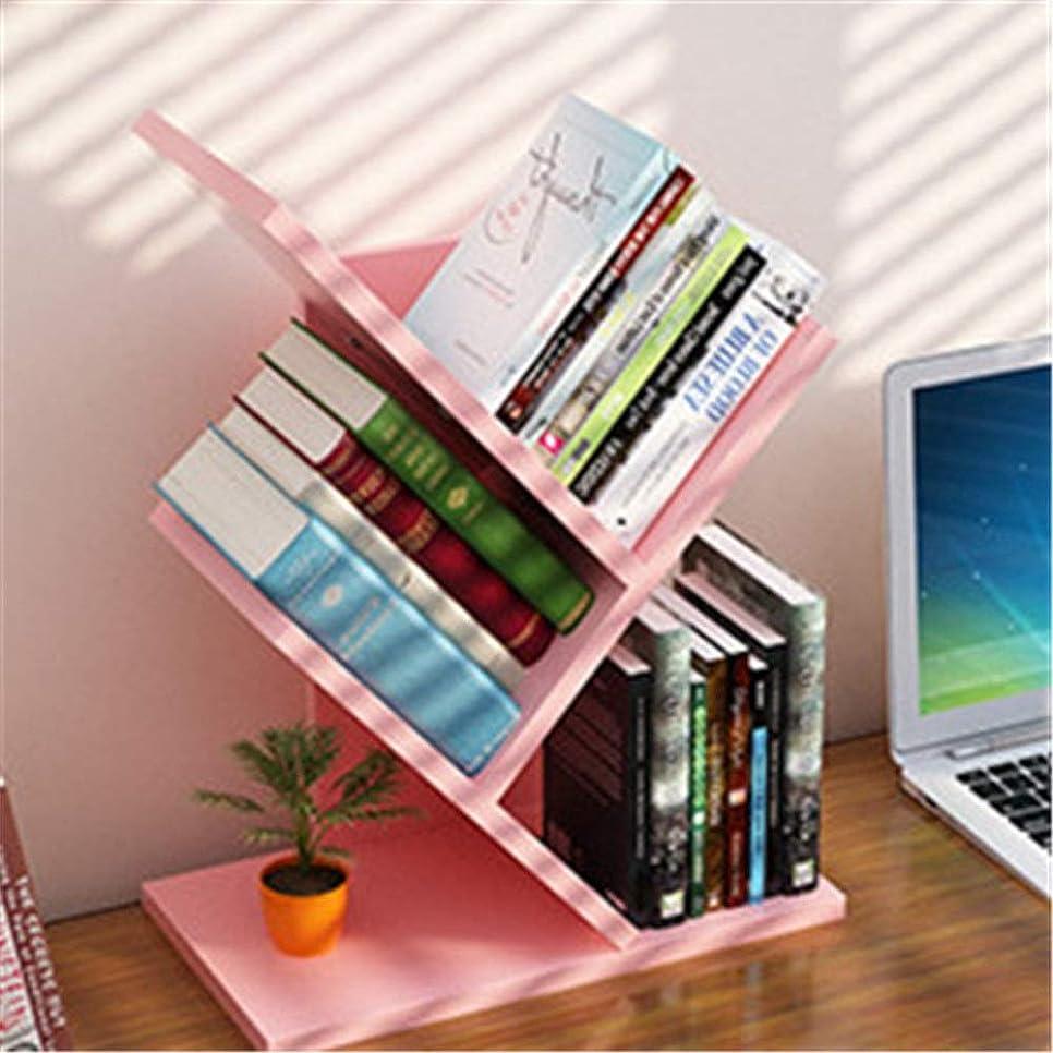 測るり軍団人格本棚床学生ラックシンプルモダンクリエイティブエコノミーリビングルームツリー小さな本棚 収納できる 文庫本ラック (色 : ピンク, サイズ : Set of bookshelf)