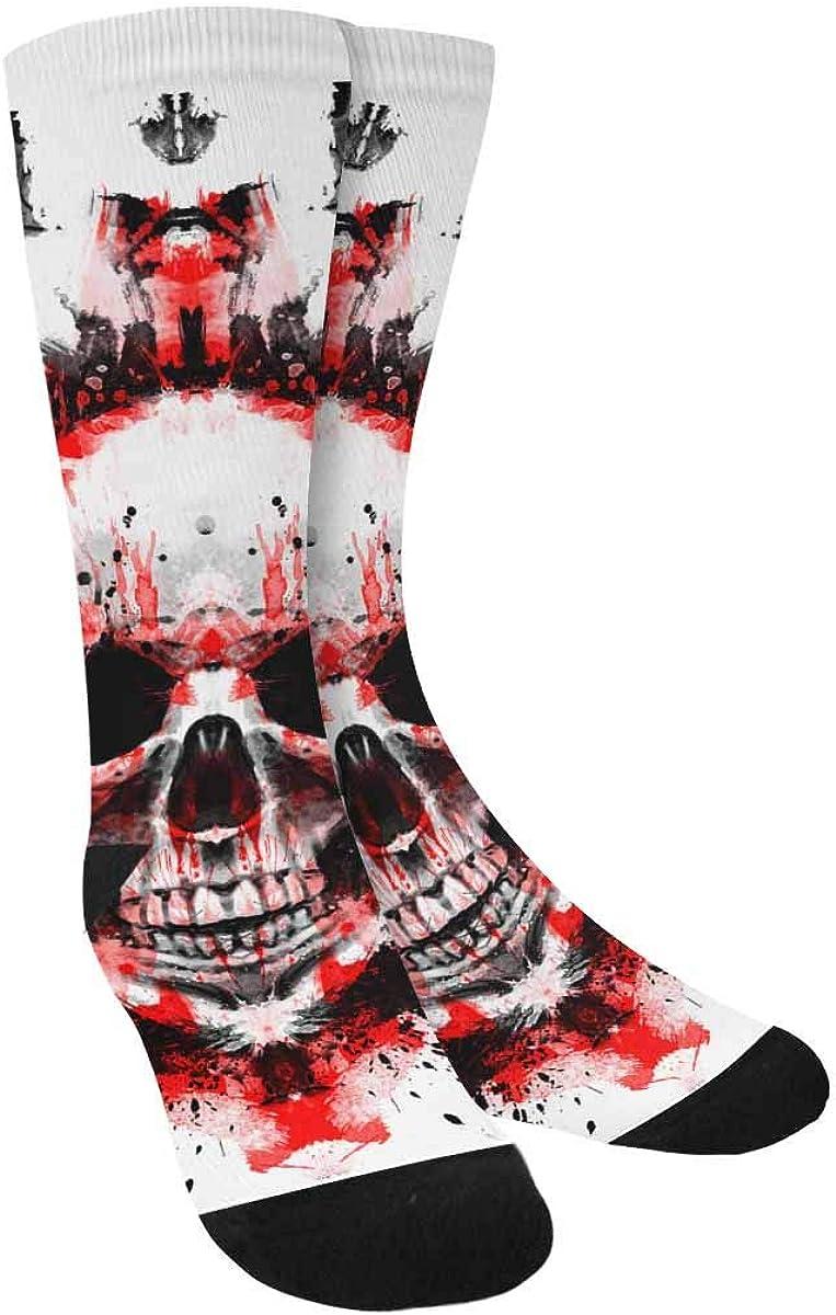 INTERESTPRINT Demon Skull Outdoor Casual Novelty Custom Socks