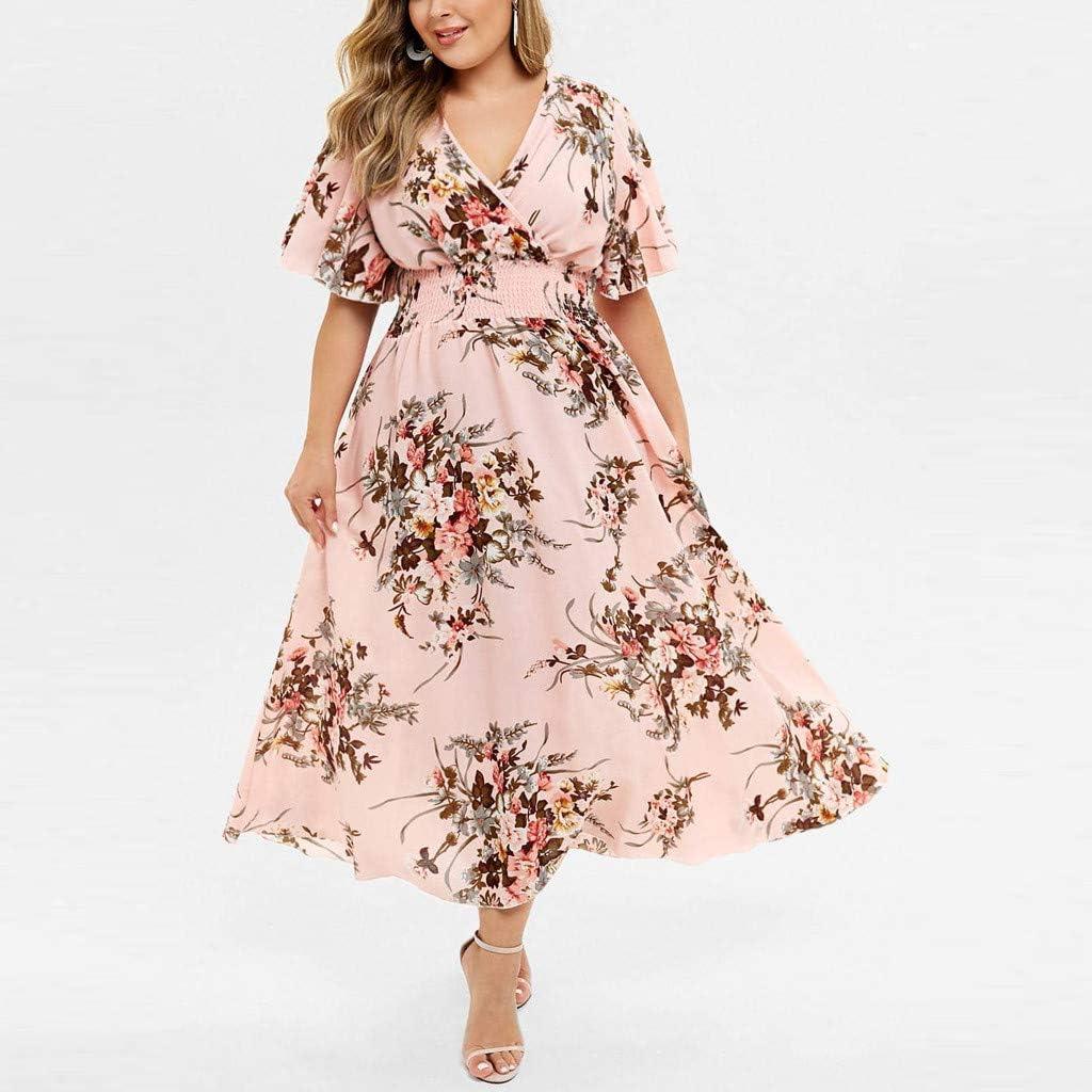 Party Dress Plus Size Long Dress Women Casual Short Sleeve Cold Shoulder Boho Flower Print V Neck Comfy Summer Dress
