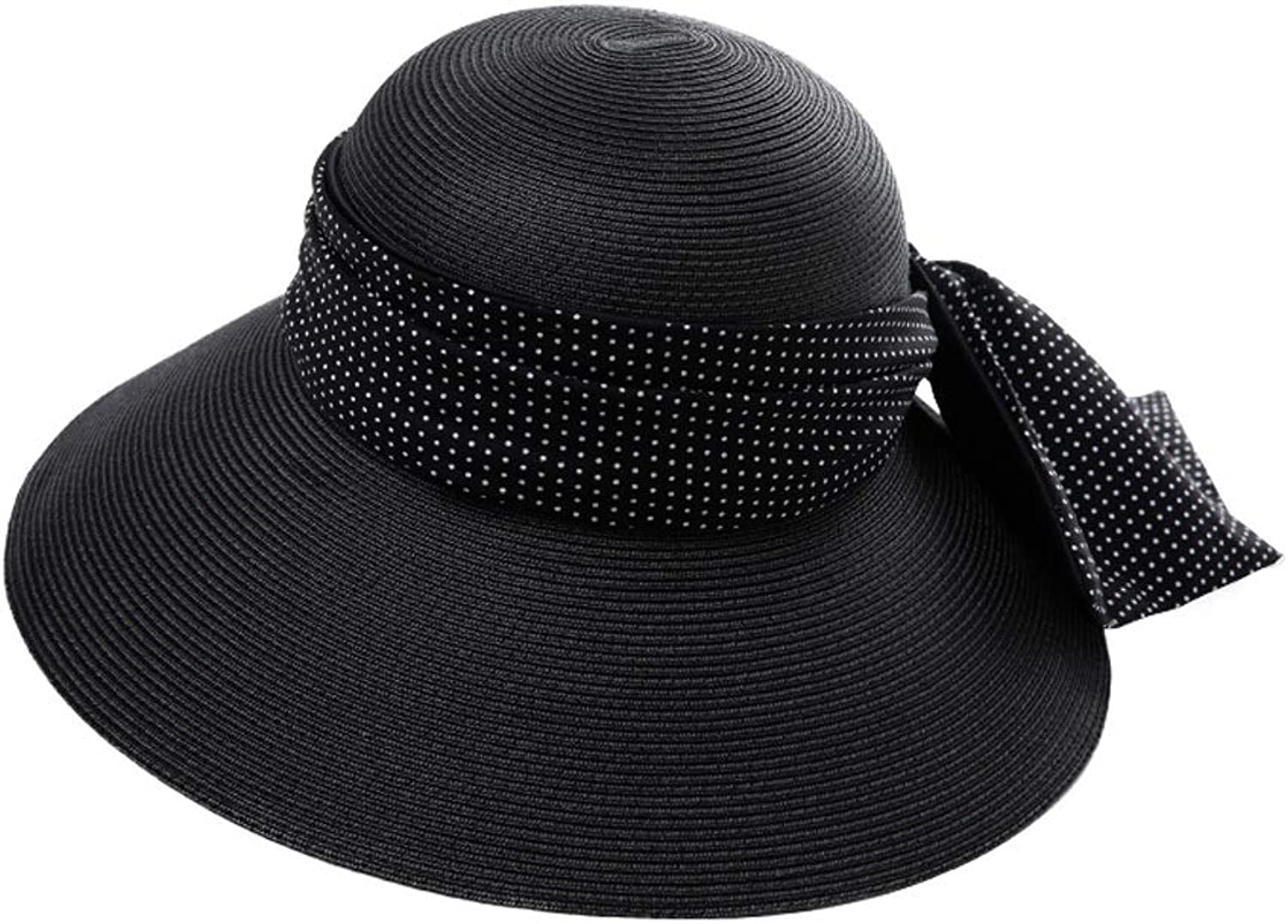 WYGGhat Hat  Women's Straw Hat Summer Travel Sun Predection Sun Visor Foldable AntiUV Beach Hat Wide Side Large Bow Decoration Sun Hat (3 colors)  & (color    11)
